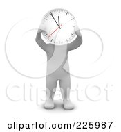 3d Blanco Man Holding A Clock Up To His Face