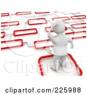 3d Blanco Man Trying To Decide Which Path To Take 2
