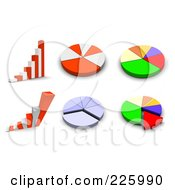 3d Digital Collage Of Bar Graphs And Pie Charts
