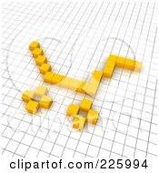 3d Shopping Cart Icon Made Of Yellow Pixels On A Grid by Jiri Moucka