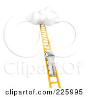 Royalty Free RF Clipart Illustration Of A 3d Blanco Man Climbing A Ladder Towards A Cloud by Jiri Moucka
