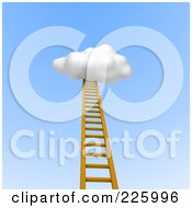 3d Ladder Leading Up Into A Puffy Cloud In A Blue Sky