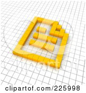 Royalty Free RF Clipart Illustration Of A 3d Document Icon Made Of Yellow Pixels On A Grid by Jiri Moucka