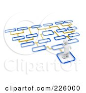 3d Blanco Man Trying To Decide Which Path To Take 3