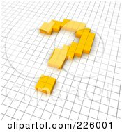 3d Question Mark Icon Made Of Yellow Pixels On A Grid