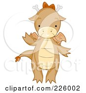 Royalty Free RF Clipart Illustration Of A Cute Whiskered Dragon Waving by BNP Design Studio