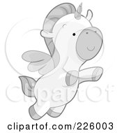 Royalty Free RF Clipart Illustration Of A Flying Winged Unicorn by BNP Design Studio