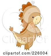 Royalty Free RF Clipart Illustration Of A Cute Whiskered Dragon Flying