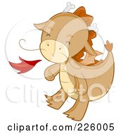 Royalty Free RF Clipart Illustration Of A Cute Whiskered Dragon Blowing Fire by BNP Design Studio