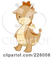 Royalty Free RF Clipart Illustration Of A Cute Whiskered Dragon Walking