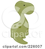 Royalty Free RF Clipart Illustration Of A Cute Apatosaurus Looking Back by BNP Design Studio