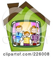 Royalty Free RF Clipart Illustration Of A Stick Boy With His Parents In A Green House by BNP Design Studio