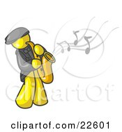 Clipart Illustration Of A Musical Yellow Man Playing Jazz With A Saxophone by Leo Blanchette