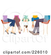 Royalty Free RF Clipart Illustration Of Feet Of A Family Sitting At A Table