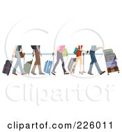 Royalty Free RF Clipart Illustration Of Feet Of People In Line At The Airport