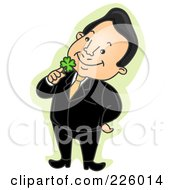 Royalty Free RF Clipart Illustration Of A Happy Businessman Holding A Shamrock To His Face