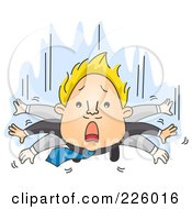 Royalty Free RF Clipart Illustration Of A Businessman Flapping His Arms While He Falls by BNP Design Studio