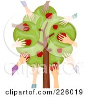 Royalty Free RF Clipart Illustration Of Diverse Hands Picking Apples From A Tree