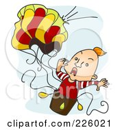 Royalty Free RF Clipart Illustration Of A Man Screaming As His Air Balloon Breaks