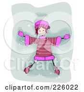 Royalty Free RF Clipart Illustration Of A Stick Girl Making A Snow Angel