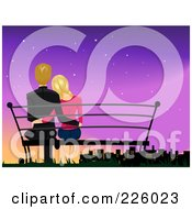 Royalty Free RF Clipart Illustration Of A Romantic Couple Sitting On A Bench And Watching A City At Dusk
