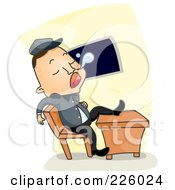 Royalty Free RF Clipart Illustration Of A Lazy Guard Sleeping With One Leg On A Desk