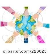 Royalty Free RF Clipart Illustration Of A Circle Of Kids Hands Touching The Globe by BNP Design Studio