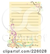 Royalty Free RF Clipart Illustration Of A Beige Ruled Page With Doodled Stars And Swirls by BNP Design Studio
