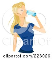 Royalty Free RF Clipart Illustration Of A Pretty Blond Woman Drinking A Glass Of Water