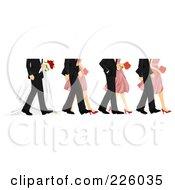 Feet Of Bridesmaids Groomsmen And The Wedding Couple