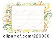 Royalty Free RF Clipart Illustration Of Ruled Paper Bordered With Green And Yellow Flourishes