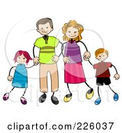 Royalty Free RF Clipart Illustration Of A Stick Boy And Girl With Their Mom And Dad