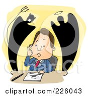 Royalty Free RF Clipart Illustration Of Good And Evil Shadows Rising Behind A Worried Businessman by BNP Design Studio