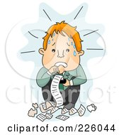 Royalty Free RF Clipart Illustration Of A Stressed Businessman Reading Receipts by BNP Design Studio
