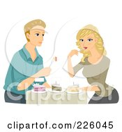 Royalty Free RF Clipart Illustration Of A Young Couple Sampling Wedding Cakes by BNP Design Studio