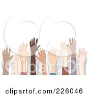 Crowd Of Diverse Raised Hands