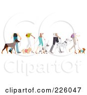 Royalty Free RF Clipart Illustration Of Feet Of People Walking Their Dogs by BNP Design Studio