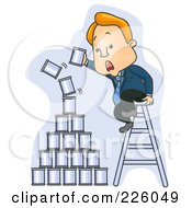 Royalty Free RF Clipart Illustration Of A Businessman On A Ladder Stacking Cans On A Falling Pyramid