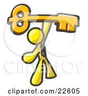 Clipart Illustration Of A Yellow Businessman Holding A Large Golden Skeleton Key Symbolizing Success