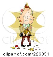 Royalty Free RF Clipart Illustration Of A Sad Entertainer Covered In Food Splatters On Stage