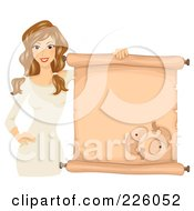 Royalty Free RF Clipart Illustration Of A Brunette Pisces Girl Holding A Scroll Sign