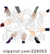 Royalty Free RF Clipart Illustration Of Diverse Business Hands Building A Puzzle by BNP Design Studio