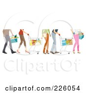 Royalty Free RF Clipart Illustration Of Feet Of People Shopping In A Grocery Store by BNP Design Studio