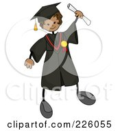 Royalty Free RF Clipart Illustration Of A Happy Stick Boy In A Cap And Gown Holding His Certificate