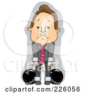 Royalty Free RF Clipart Illustration Of A Businessman In Cuffs And Chains