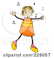 Royalty Free RF Clipart Illustration Of A Stick Girl Dancing And Listening To Music