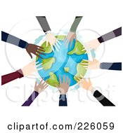 Royalty Free RF Clipart Illustration Of A Circle Of Business Hands Touching The Globe by BNP Design Studio