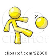 Yellow Man Kicking A Ball Really Hard While Playing A Game by Leo Blanchette