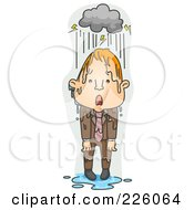Royalty Free RF Clipart Illustration Of A Businessman Caught In The Rain by BNP Design Studio
