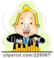 Royalty Free RF Clipart Illustration Of A Businessman Counting And Stacking His Coins